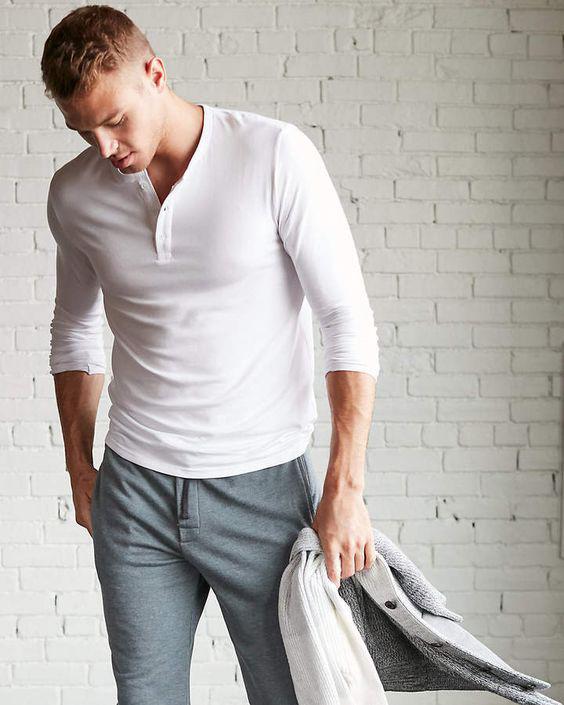 Roupas masculinas para o outono - Camisa Henley