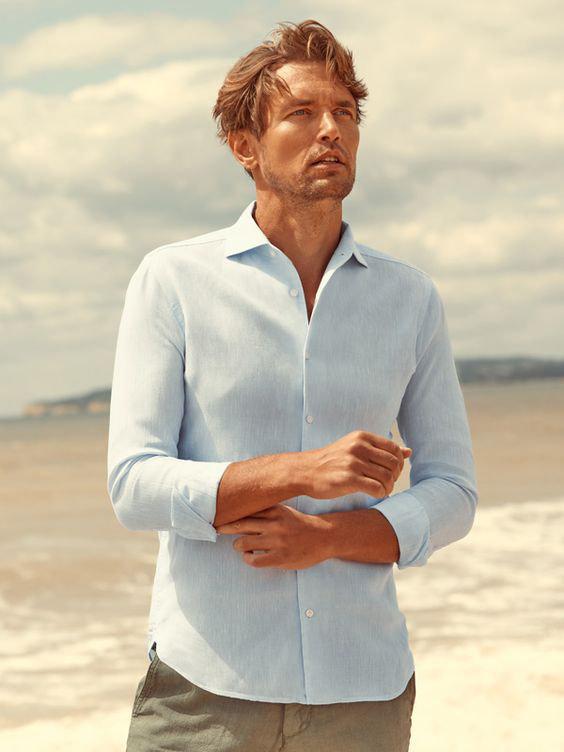 Linho moda masculina verão - camisa de linho sem amassados