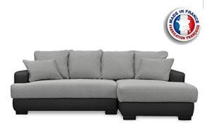 Canapé d'Angle Convertible Irréversible Canapé lit ,Canapé d'angle Simili Cuir en tissu 5 places,Gris/Noir 233 x 147 x 83 cm