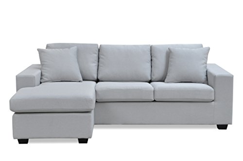 Furniture R Fanilife Canapé d'angle Reversible 3 Places Dossier Haut Mousse HR Confortable en Gris Clair 220 x 84 x 149CM