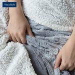 mello Plaid canape Grande Taille | Plaid Fourrure Reversible Peau de Mouton, Couvre lit 150×200 | Plaid Polaire Tout Doux, Couverture Polaire pour jeté de canapé, Dessus de lit | Lavable, Gris