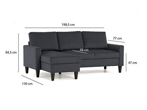Confort24 Fox Canapé d'angle 3 Places Chaise Longue Reversible Gauche ou Droite (Gris foncé)
