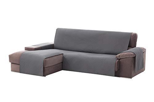 textil-home Housse de canapé Adele, Protection rembourrée pour canapé d'angle Gauche. Taille -240cm. Couleur Grey (VU of Face)