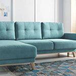 Bobochic – BALIO – Canapé d'angle en Tissu Convertible avec Coffre 4 Places – Gauche Couleur – Bleu Turquoise