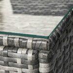 Gona Salon de jardin en rotin, canapé d'angle, convertible et table avec plateau en verre (gris)