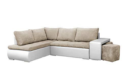 MEUBLO Canapé d'angle Convertibles avec Deux poufs Tissu + Simili Cuir BELGRAD (Beige + Blanc, Canapé d'angle Gauche)