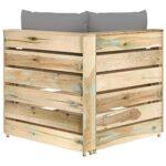 vidaXL Bois Imprégné de Vert Canapé d'angle Sectionnel avec Coussins Meuble de Terrasse Canapé d'angle de Patio Canapé de Jardin Extérieur