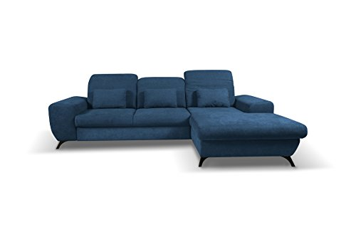 Canapé d'angle convertibles   Appuie-tête réglables   tissu CORSE (Bleu marine, Canapé d'angle droit)