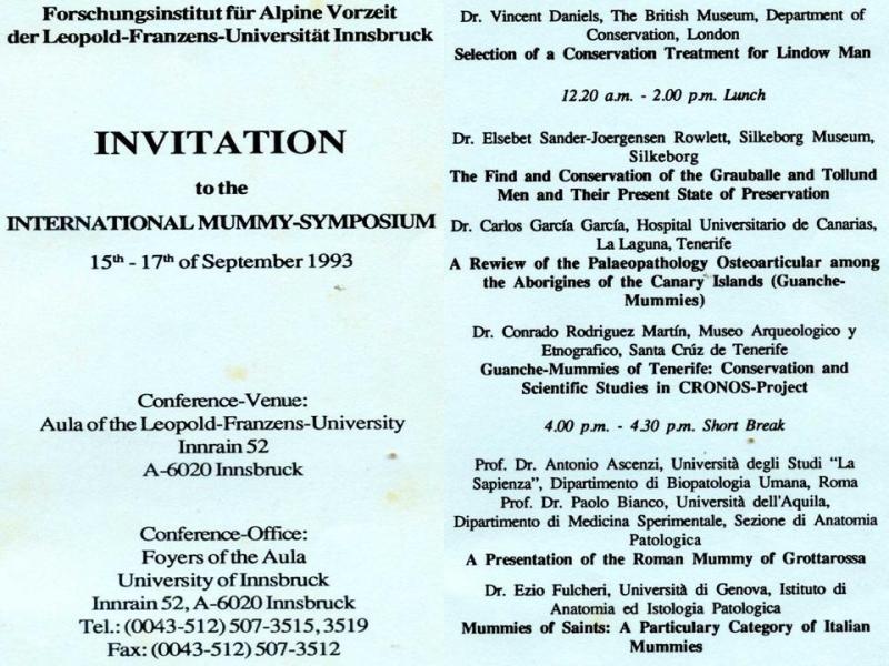 Invitación al simposio internacional de Innsbruck en septiembre de 1993