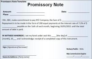 Little Promissory Note Security Form of Bank Money Pays Off Debts Form