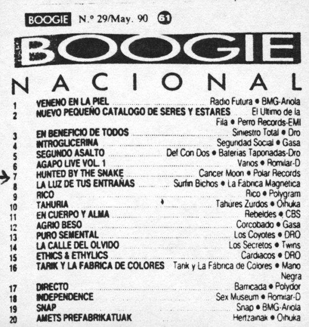 Cancer Moon en el listado de Boogie (mayo de 1990)