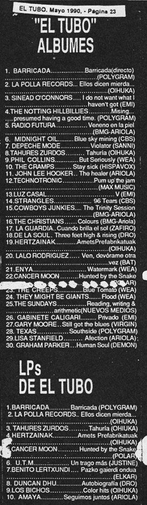 Cancer Moon en las listas de El Tubo (mayo 1990)