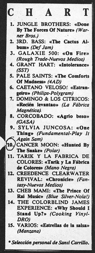 Cancer Moon en el chart de Rockdelux (abril 1990)