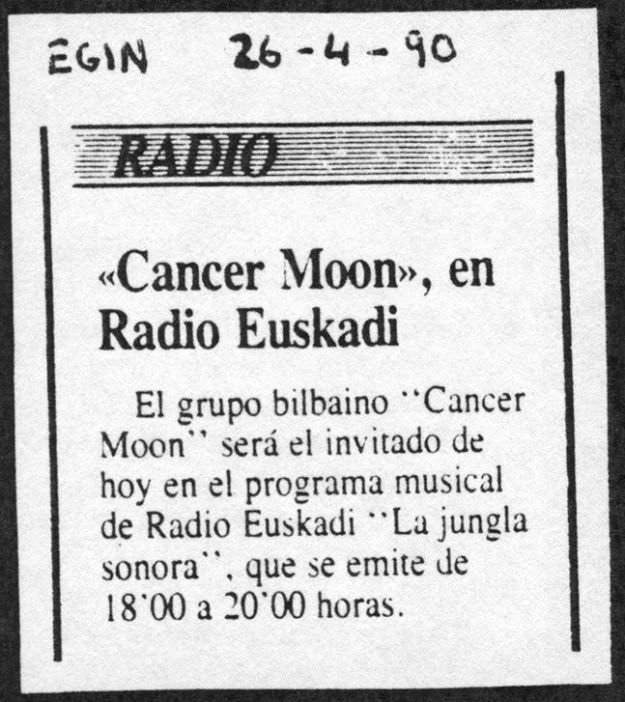 Cancer Moon en la Jungla Sonora. Recorte de Egin (26 de abril de 1990).