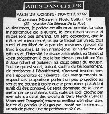 Reseña de 'Flock, colibri, oil' en el n.º 28 de 'Abus Dangereux' (octubre 1992)