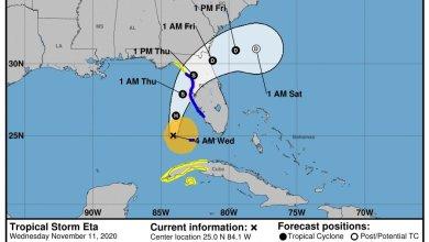 """Photo of Tormenta Tropical """"Eta"""" se proyectaría hacia el norte de  Florida"""