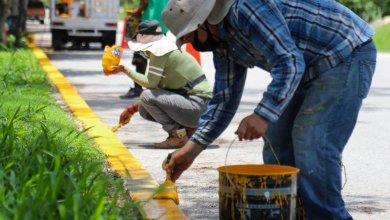 Photo of Aplican pintura en pavimento y guarniciones de Puerto Morelos