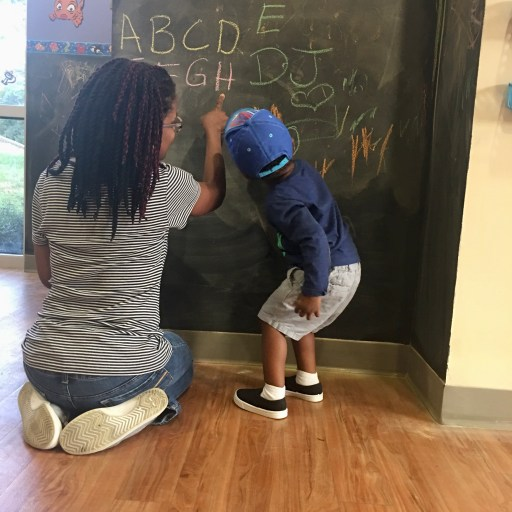 mom son alphabet chalkboard