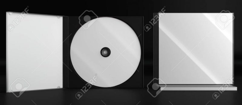 3d render of a cd dvd compact disc plastic box mockup on black