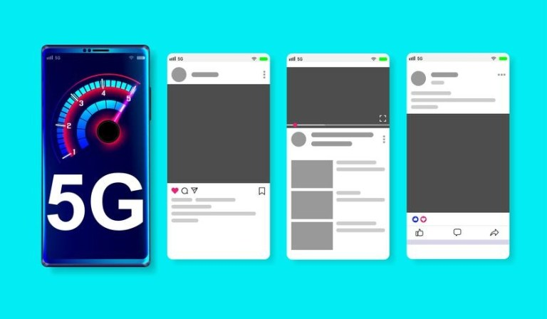 5g high speed network on online social media mockup on blue