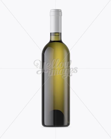 antique green wine bottle mockup front view in bottle mockups on