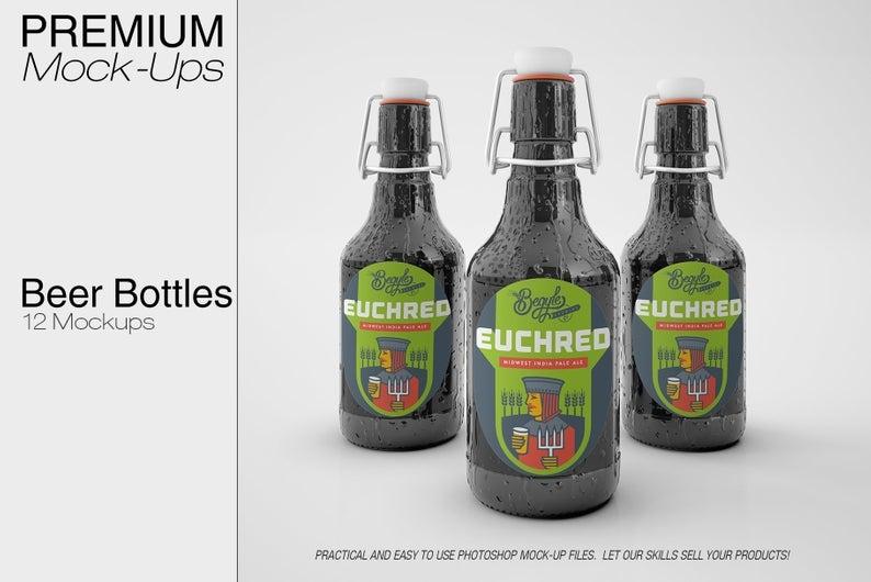 beer bottles mockup beer bottle label mockup beer and glass etsy