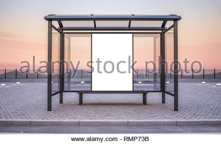 billboard on bus stop kiosk mockup 3d rendering stock photo