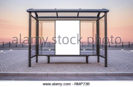 billboard on bus stop kiosk mockup 3d rendering stock photo