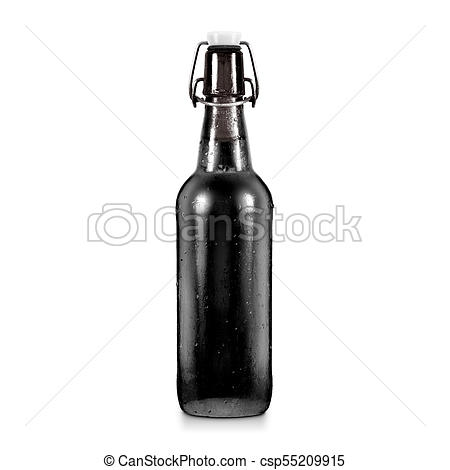 blank black beer bottle mockup without label isolated dark alcohol