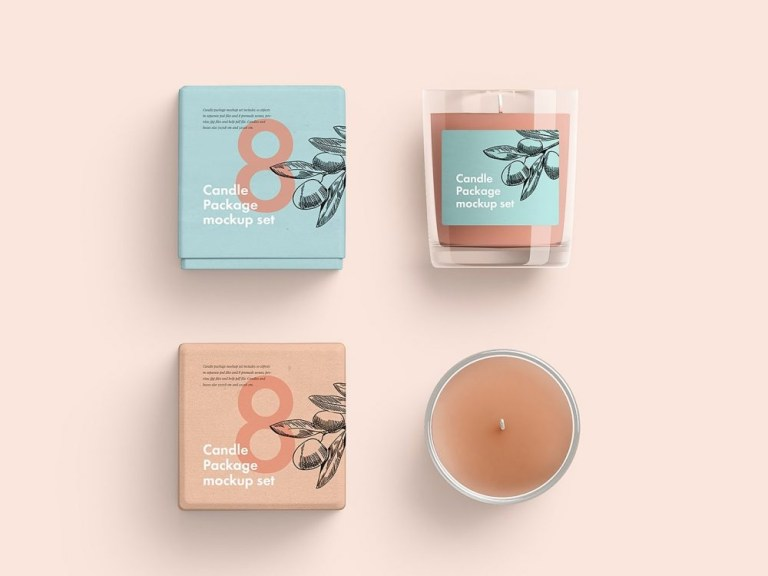 candle glass and box packaging mockup free mockup