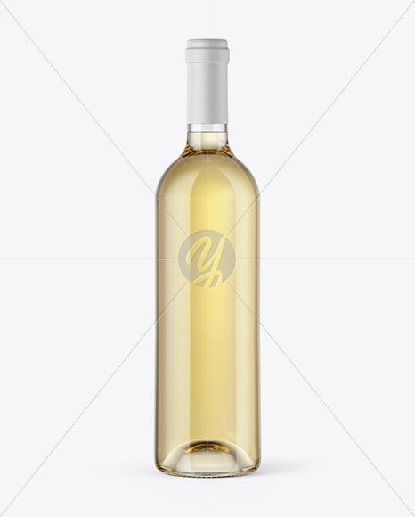 clear glass white wine bottle mockup in bottle mockups on yellow