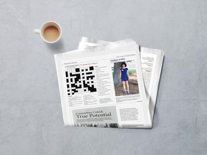crossword newspaper mockup the occidental