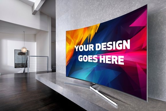 curved screen tv mockup 2 mockup store