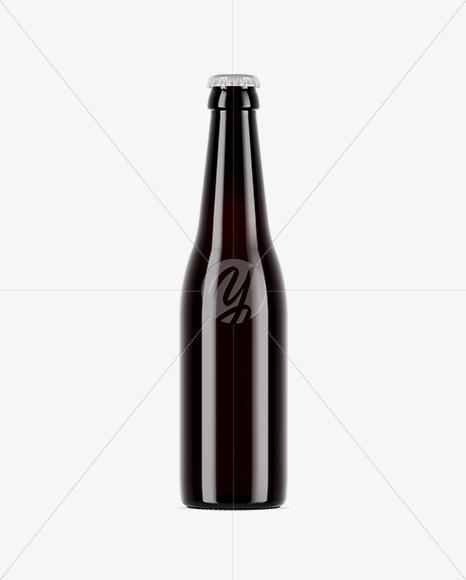 dark amber glass beer bottle mockup in bottle mockups on yellow