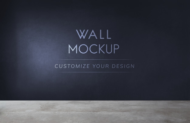 empty room with a black wall mockup psd file free download