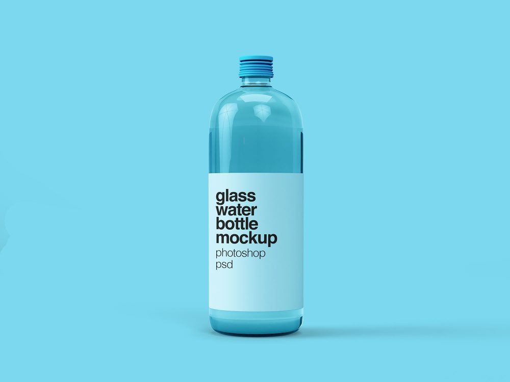 free glass water bottle mockup psd daily mockup