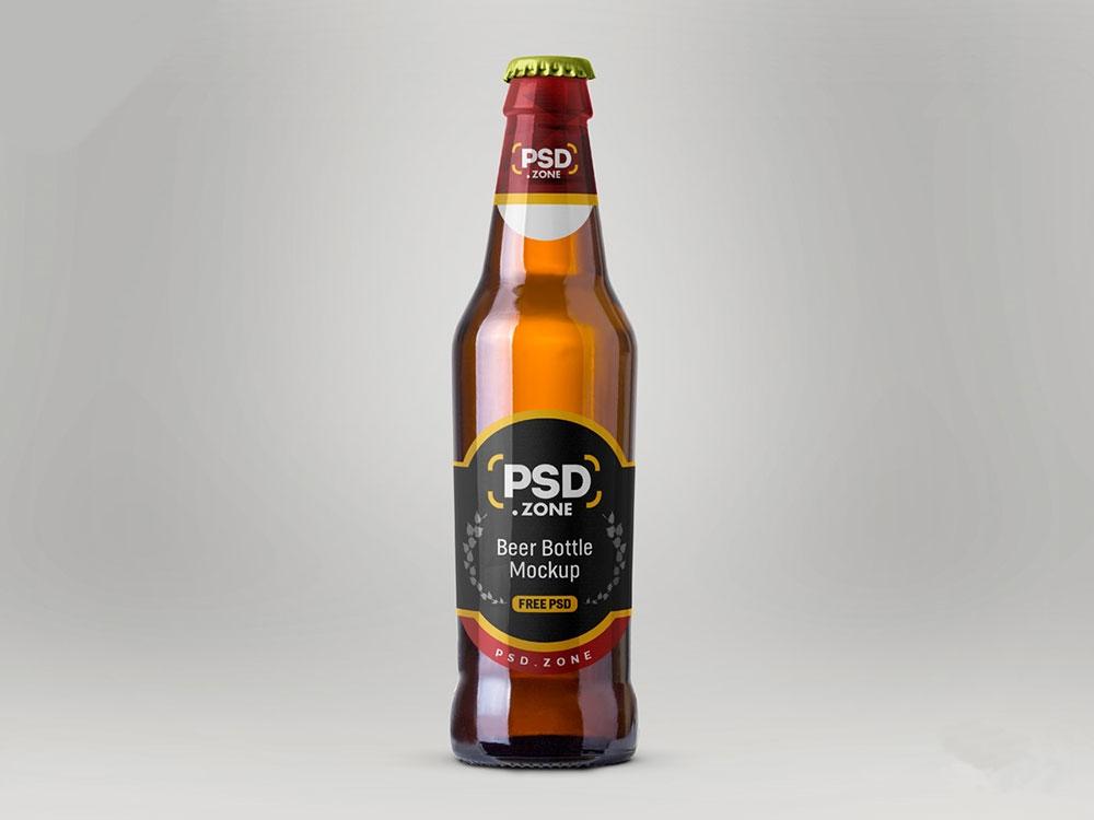 free realistic beer bottle mockup mockuptree