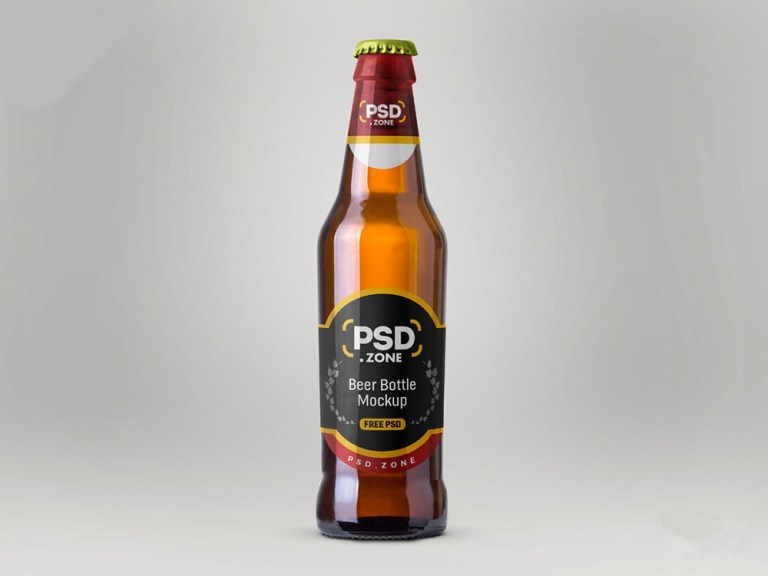 free realistic beer bottle mockup mockuptree