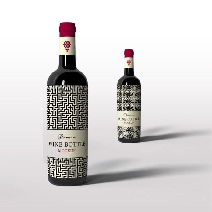 free stylish wine bottle mockup mockuptree