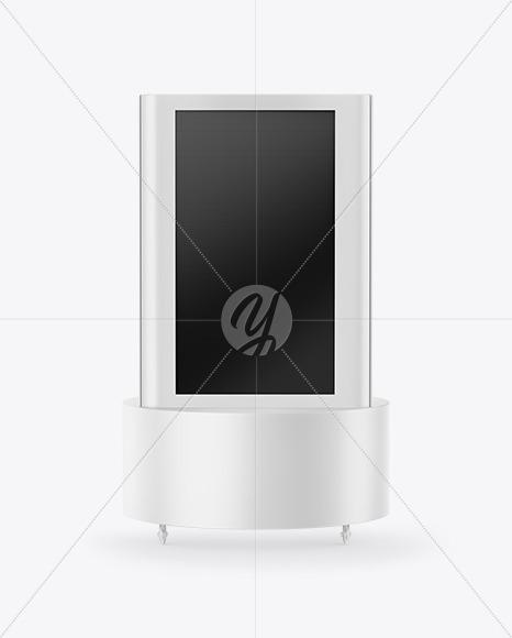 freestanding kiosk mockup in device mockups on yellow images
