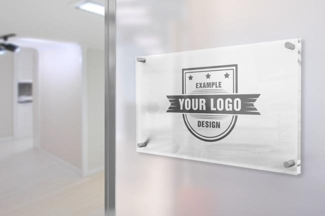 glass sign on office wall mockup mediamodifier