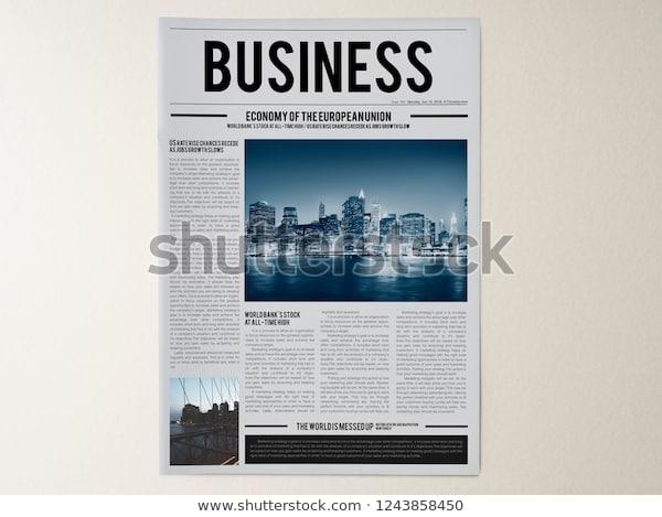 latest business news newspaper mockup stock photo edit now 1243858450