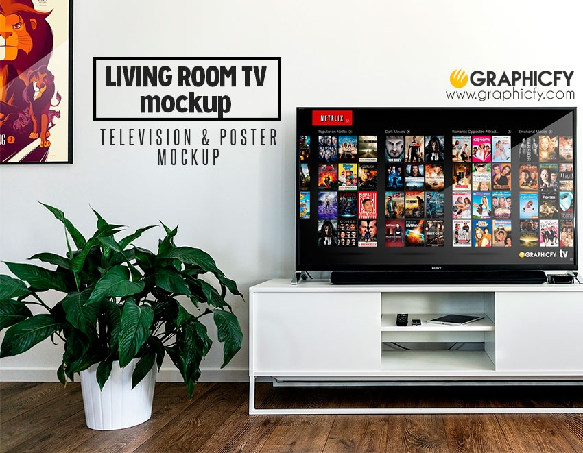 living room tv mockup template graphicfy