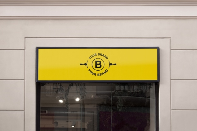 logo mockup on facade or storefront psd file free download