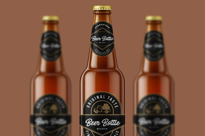make labellogo 3d bottle mockup like beer winewater bottle