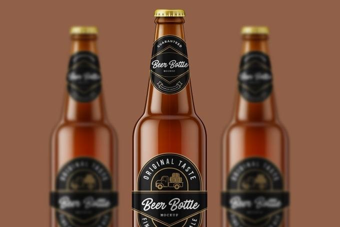 make labellogo 3d bottle mockup like beer winewater bottle