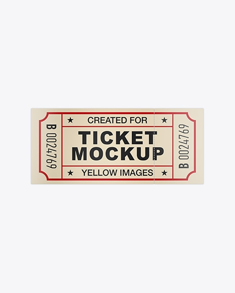 matte paper ticket mockup top view free psd template download