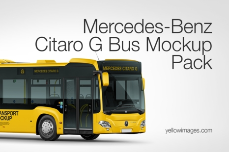 mercedes benz citaro g bus mockup pack in handpicked sets of