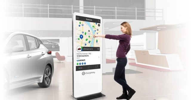 mockup of chargeway dealership kiosk to explain charging to electric