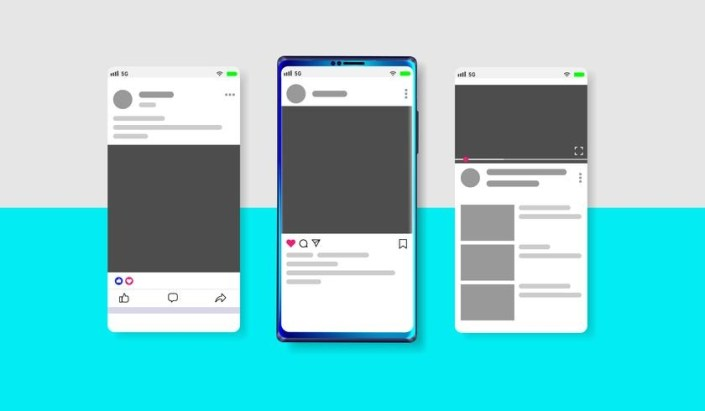 modern social media new feed post and home page mockup with